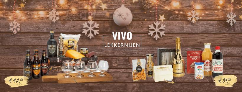 Banner van de webpagina waarin twee voorbeelden van kerstpakketten uit het assortiment van 2020 te zien zijn.